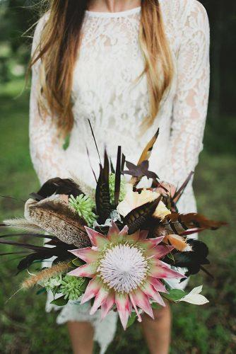 fall wedding bouquets artichokes and feathers luke going photography