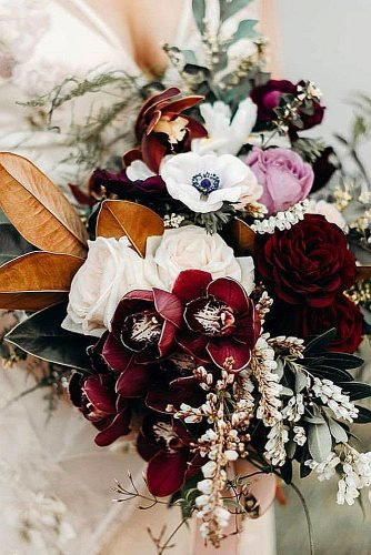 fall wedding bouquets burgundy bouquet orchids roses