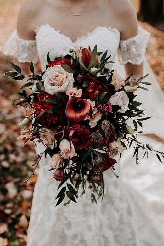 fall wedding bouquets burgundy bouquet with roses eucalyptus