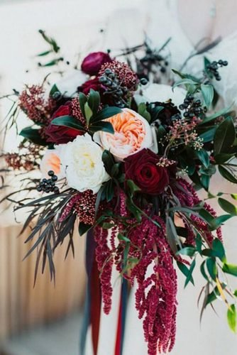fall wedding bouquets cascade burgundy bouquet