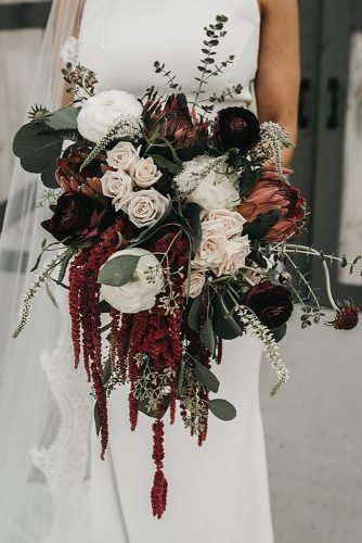 fall wedding bouquets cascade burgundy bouquet roses