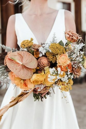 fall wedding bouquets original yellow bouquet with flowers and greens lindsay_hackney