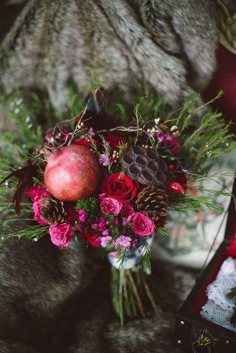 fall wedding bouquets with and small red pink roses pomegranate fruit