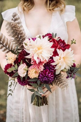 fall wedding bouquets with dahlias and feathers small with greenery threetoadsfarm