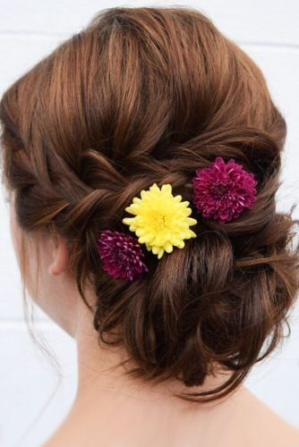 fall wedding hairstyles bright flowers with low updo wb upstyles