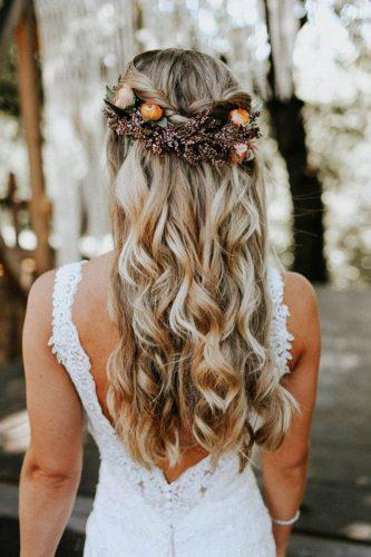 fall wedding hairstyles flower crown with oranges melissa marshall