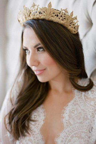 fall wedding hairstyles gold crown jemmakeech