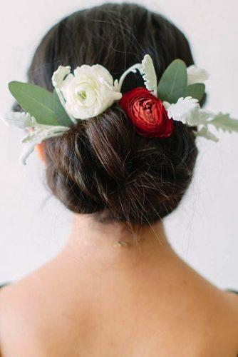 fall wedding hairstyles updo with bright flowers flowercrownsociety
