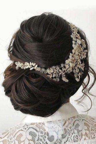 fall wedding hairstyles updo with headpiece dark hair nicoledrege