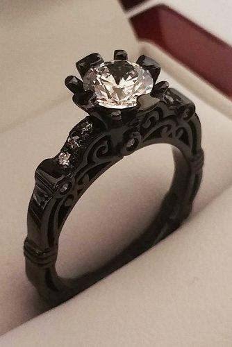 halloween wedding ideas black gold engagement rings unique solitaire diamond round