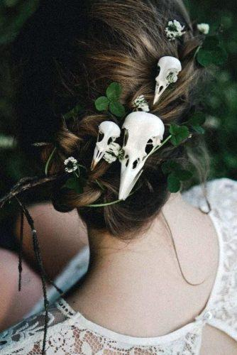 halloween wedding ideas bridal updo with skull hairpins yourschizophrenia via instagram