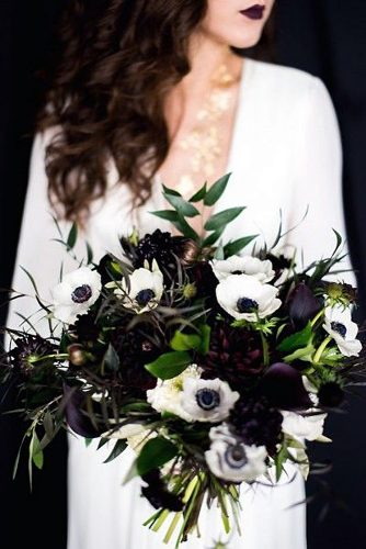 halloween wedding ideas dark bouquet with greens and white flowers dana fernandez