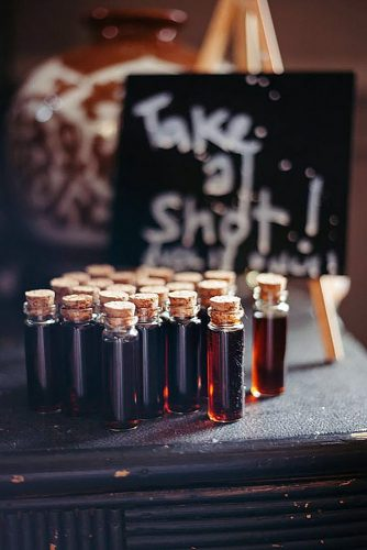 halloween wedding ideas shots in small bottles similar to blood c&g weddings