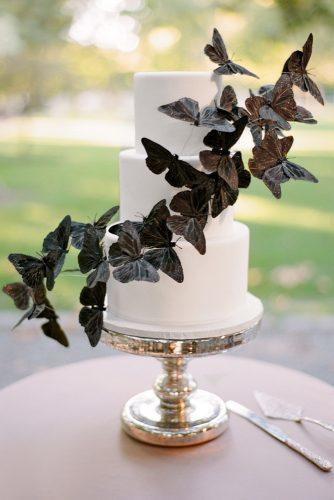 halloween wedding ideas three tiered white bridal cake with black butterflies aaron delesie