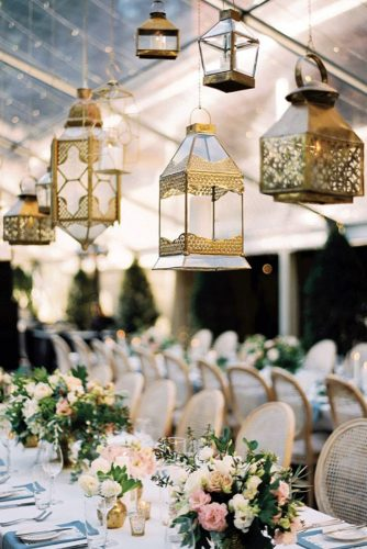 lantern wedding centerpiece suspended golden lanterns decorate the wedding hall katie h grant via instagram