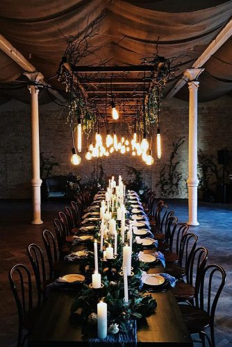 loft decorating ideas long table of dark wood with candles over a table lightbulb wedding party laboratory via instagram
