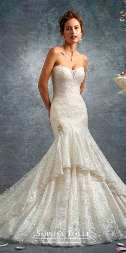 mermaid strapless sweetheart lace neck sophia tolli wedding dresses 2017
