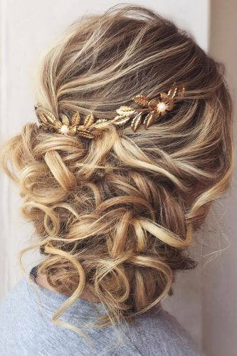 mother of the bride hairstyles curly updo with gold headpiece hairbybritny