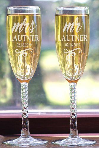 personalized wedding gifts engraved mr and mrs flutes
