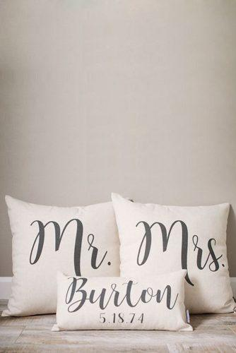 personalized wedding gifts for bride and groom pillows sweethooligansdesign via instagram
