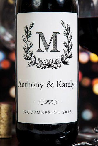personalized wedding gifts monograms bottle of wine icustomlabel via instagram