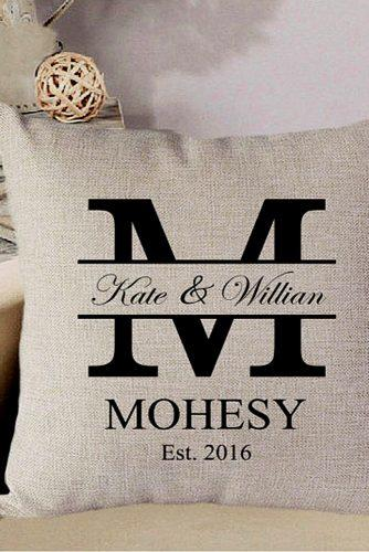 personalized wedding gifts monograms pilow glamulet via instagram
