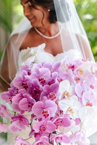 pink wedding bouquets cascading with white orchids fletchphotography