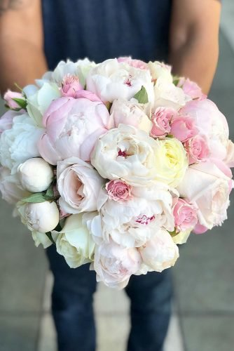 pink wedding bouquets peonies and roses in blush volume bouquet suvexpressions