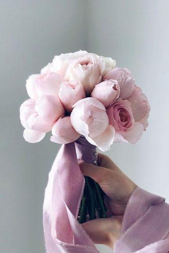 pink wedding bouquets roses and peonies gentle small with ribbons flowerna.ru
