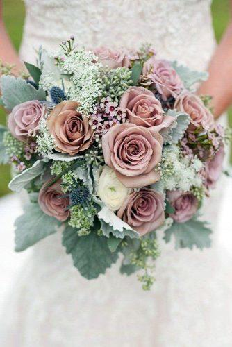 pink wedding bouquets roses with greenery and wildflowers krista.piper