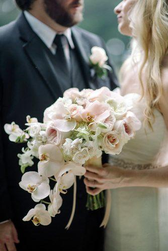 pink wedding bouquets small cascading with roses and orchids elizabeth fay photography