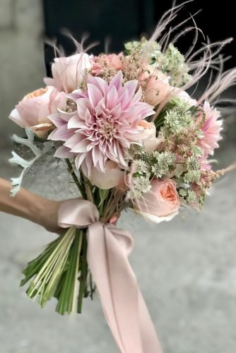 pink wedding bouquets small elegant bouquet with roses and dahlia alina_neacsa