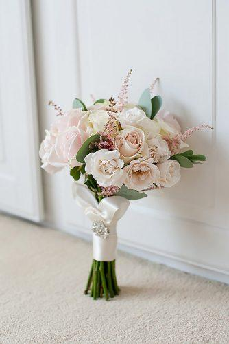pink wedding bouquets small with roses and leaves with pink silk ribbon rozalin_flowers_design via instagram