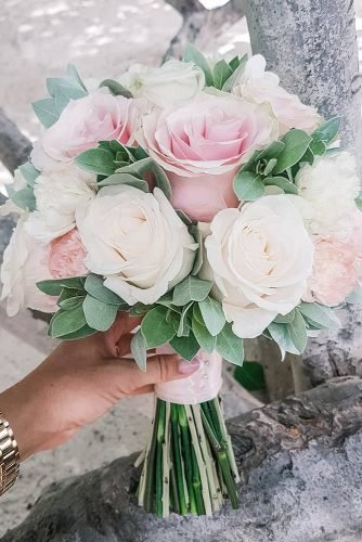 pink wedding bouquets small with vreany and blush roses vlady_flowers