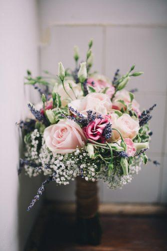 pink wedding bouquets with roses baby breath and lavender jen marino