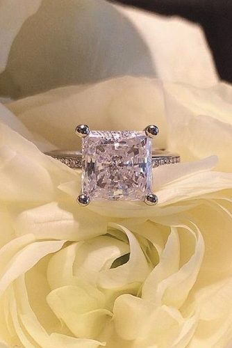 ritani pave band princess cut white gold diamond solitaire