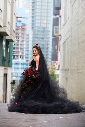 romantic black halloween wedding dresses