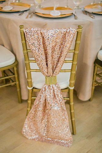 rose gold wedding decor golden chair decorated with shiny cloth katelyn owens photography