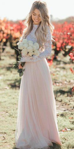 rustic wedding dresses straight blush high neckline lace long sleeves bliss tulle