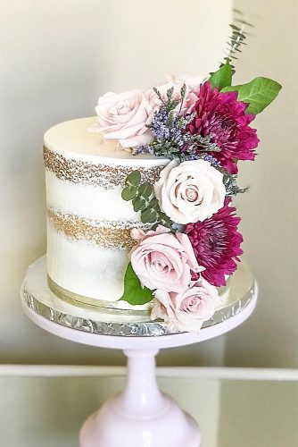 small rustic wedding cakes naked cake decorated with flowers burgundy and pink dolce designs via instagram