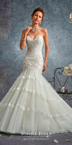sophia tolli wedding dresses 2017 mermaid strapless sweetheart neck hand beaded lace