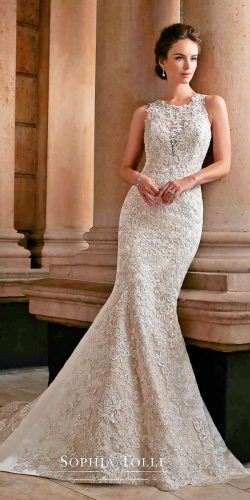 sophia tolli wedding dresses 2017 sleeveless hand beaded lace trumpet with illusion bateau neck