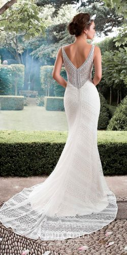 trumpet sleeveless lace illusion v back sophia tolli wedding dresses 2017