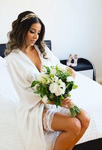 wedding boudoir book bride with bouquet shedlowich