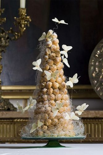 wedding cake alternatives crockenbush tower cakewith white butterflies eddie judd photography