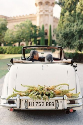 wedding car decorations with greens bryce covey photography
