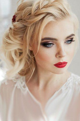 wedding hair and makeup braided updo and red lips elstilespb