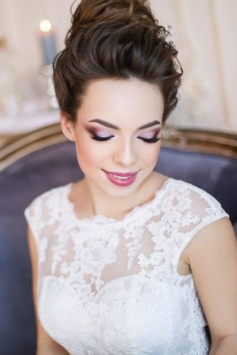 wedding hair and makeup colored makeup with updo ssellenna