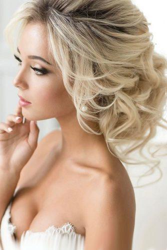 wedding hair and makeup enchanting updo with loose curls elstile