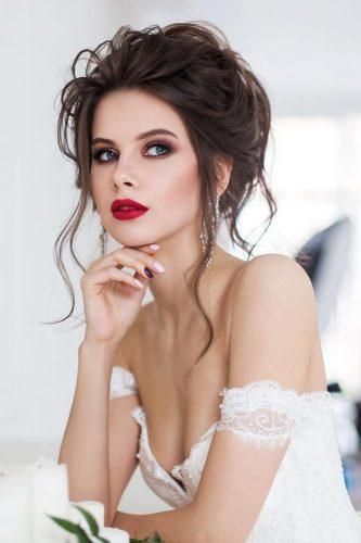 wedding hair and makeup updo dark hair with bright lips geller makeupstyle